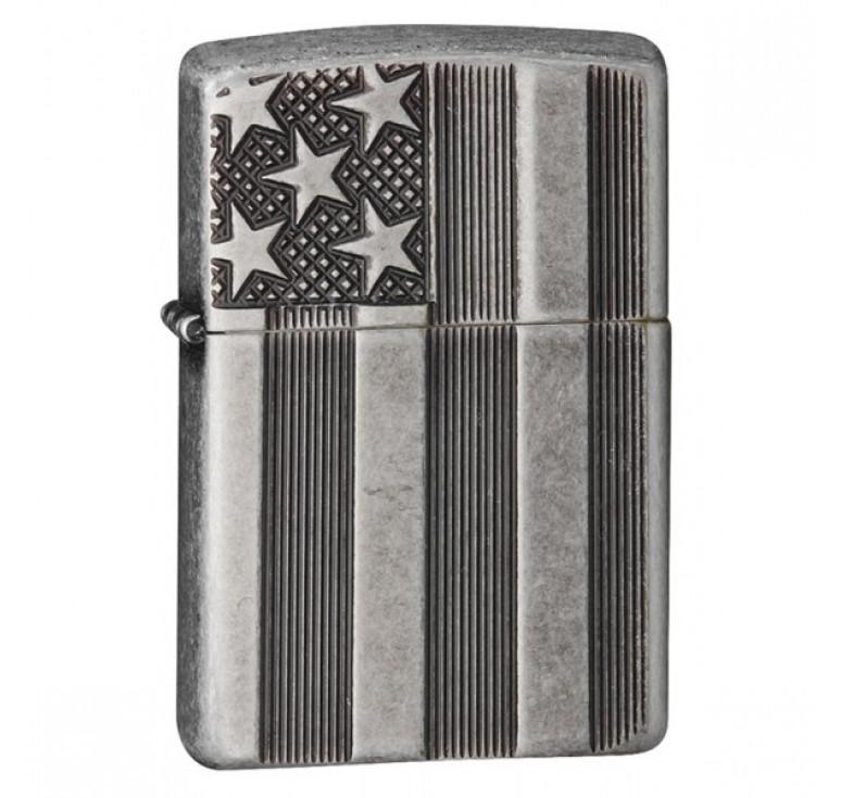 Зажигалка ZIPPO Armor™ с покрытием Antique Silver Plate™, латунь/сталь, серая, матовая, 36x12x56 мм