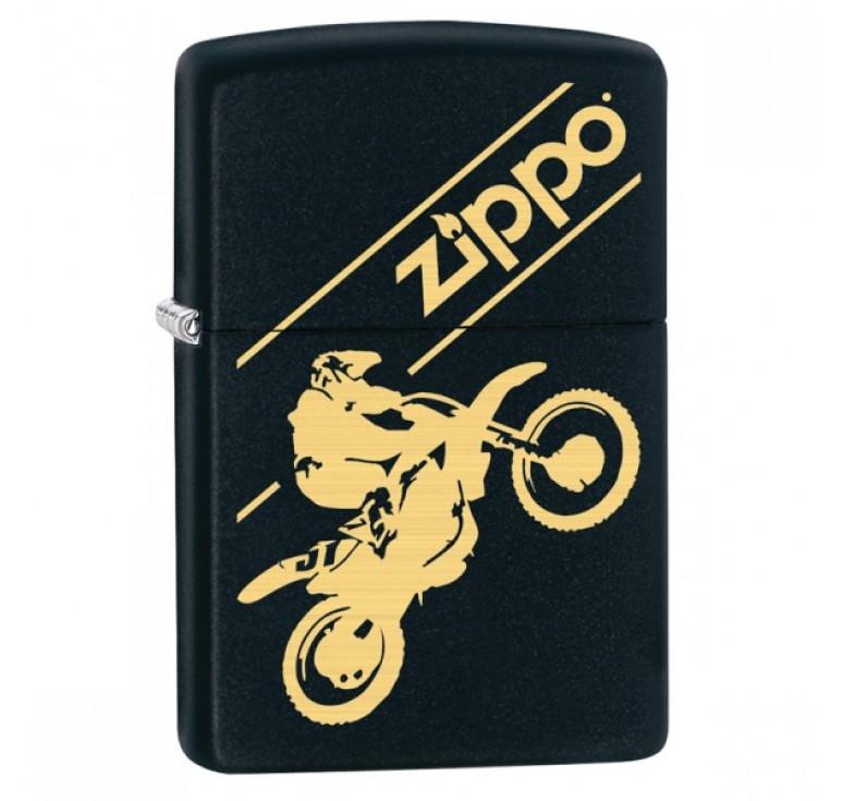 Зажигалка ZIPPO Moto Cross с покрытием Black Matte, латунь/сталь, чёрная, матовая, 36x12x56 мм