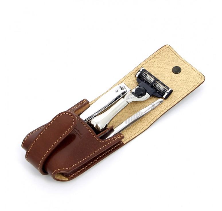 Бритвенный дорожный набор S.Quire в коричневом чехле: станок, пинцет, книпсер; серебристый