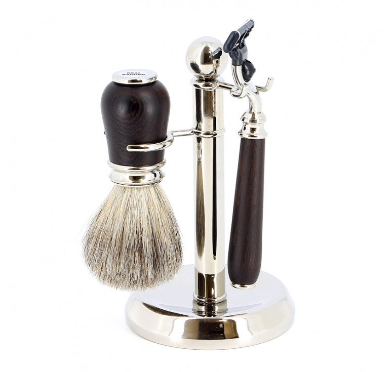 Бритвенный набор S.Quire: станок, помазок, подставка; коричневый