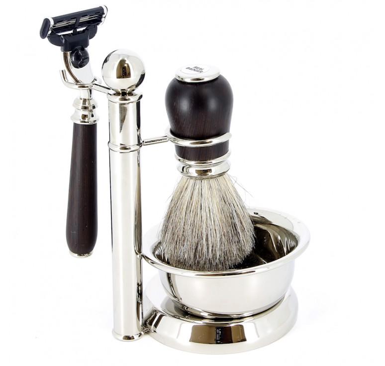 Бритвенный набор S.Quire: станок, помазок, чаша и подставка; коричневый