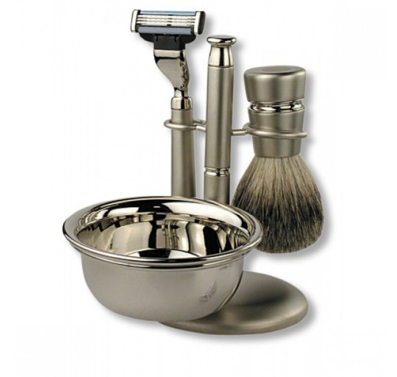 Бритвенный набор S.Quire: станок, помазок, чаша, подставка; серебристый