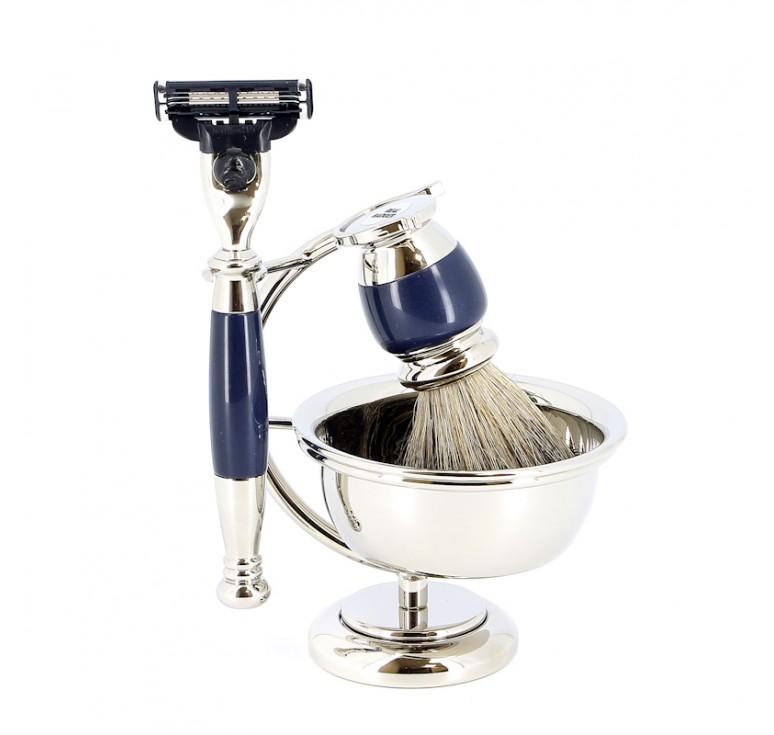 Бритвенный набор S.Quire: станок, помазок, чаша, подставка; синий перламутр