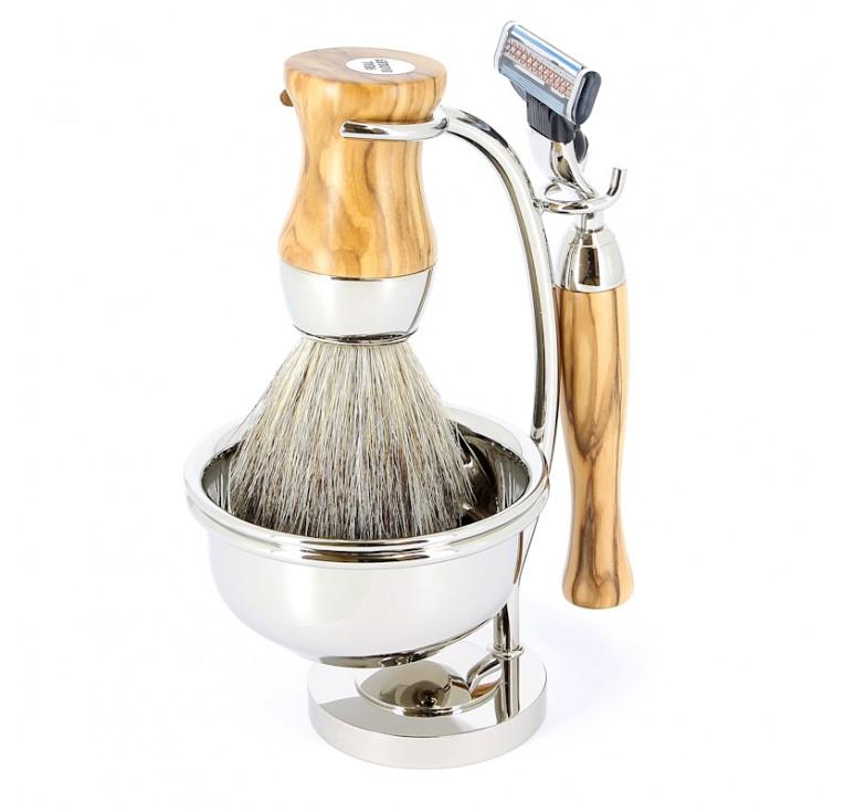 Бритвенный набор S.Quire: станок, помазок, чаша подставка; светло-коричневый