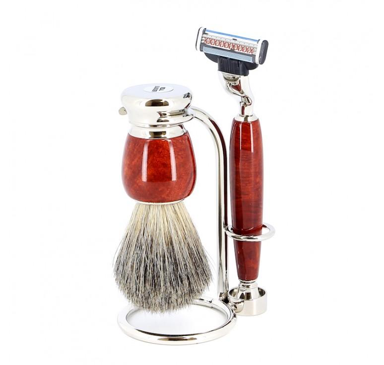 Бритвенный набор S.Quire: станок, помазок, подставка; красно-коричневый