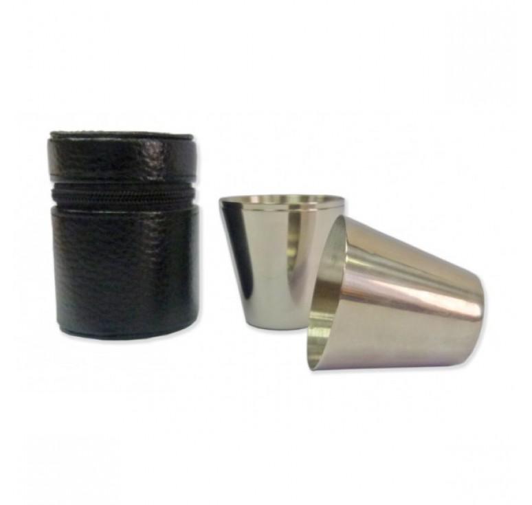 Стаканчики S.Quire, 3 шт, 30 мл, сталь, в черном чехле из натуральной кожи