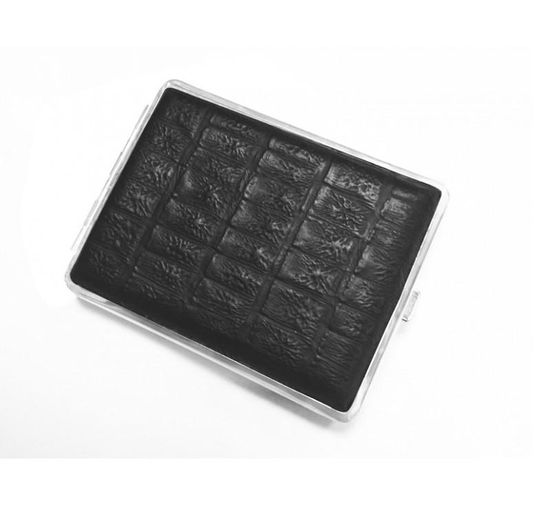 Портсигар S.Quire, сталь+натуральная кожа, чёрный  цвет с рисунком, 74*95*18 мм