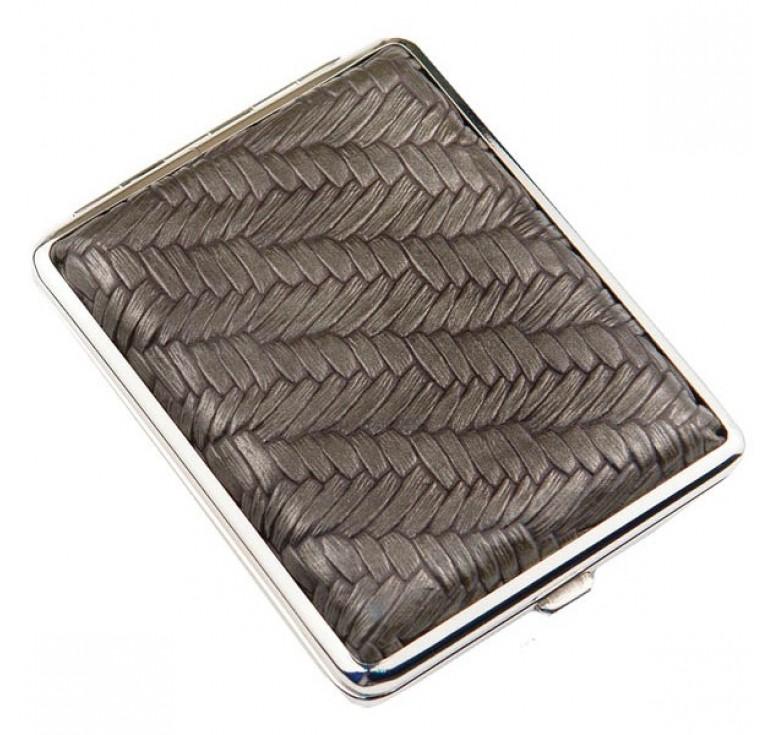 Портсигар S.Quire, сталь+искусственная кожа, бронзово-серый цвет с рисунком, 74*95*18 мм