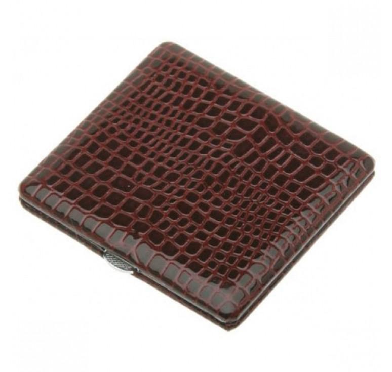 Портсигар S.Quire, сталь+искусственная кожа, красный цвет с рисунком, 100*95*14мм