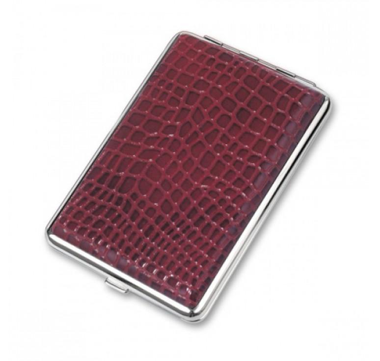 Портсигар S.Quire, сталь+искусственная кожа, красный цвет с рисунком, 74*115*18 мм