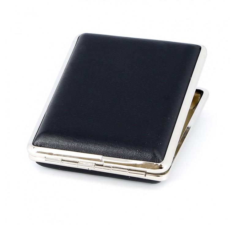 Портсигар S.Quire, сталь+искусственная кожа, черный цвет, гладкий, 74*95*18 мм