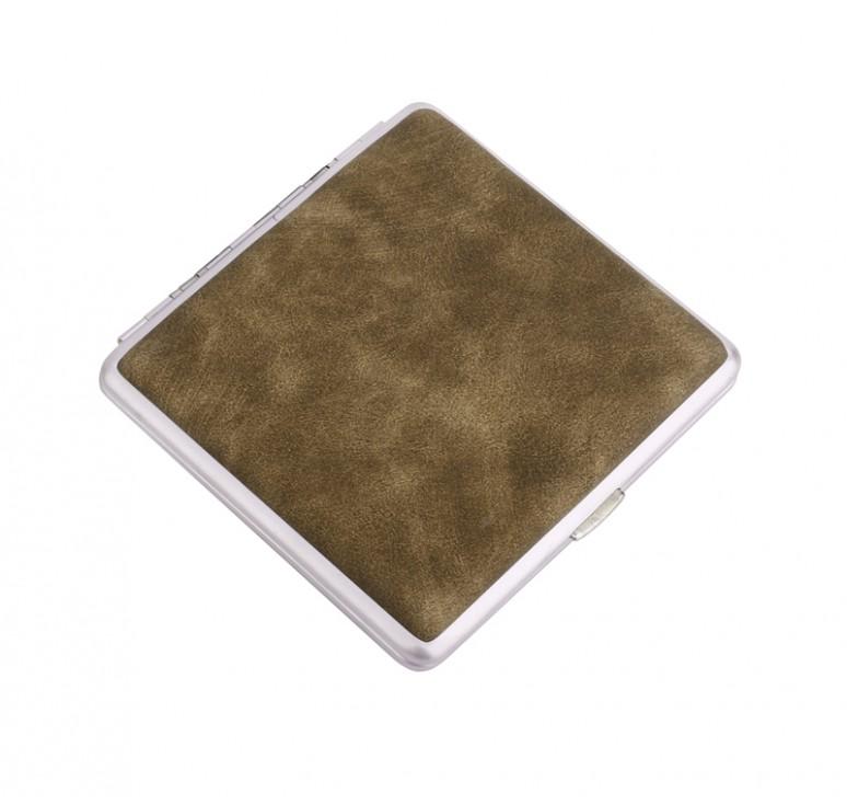 Портсигар S.Quire, сталь+искусственная кожа с металлическими клипами, бежевый цвет, 74*95*18 мм