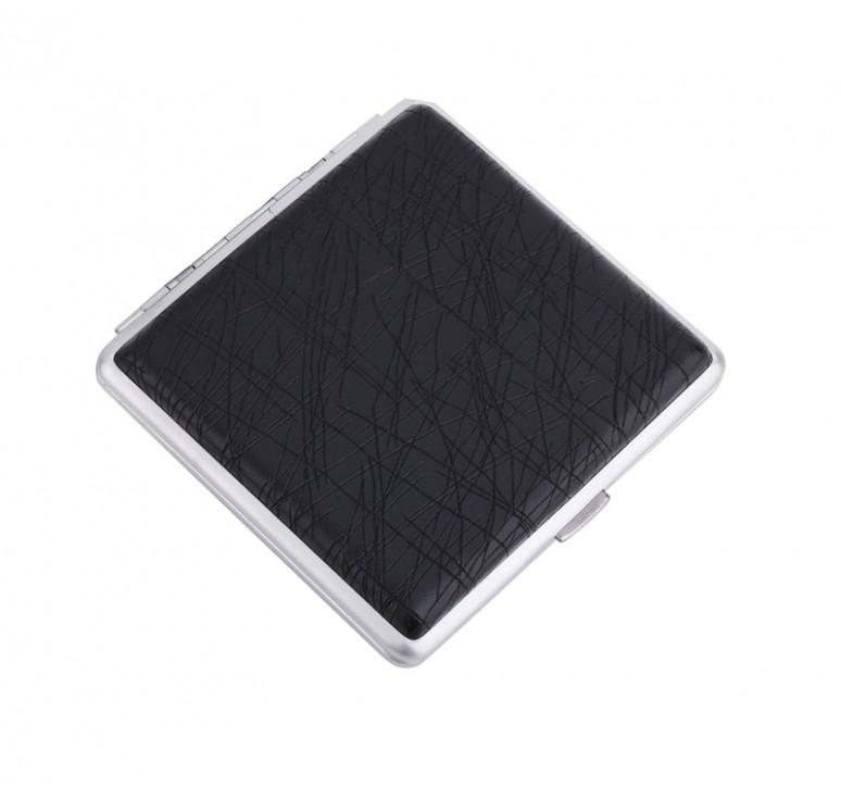 Портсигар S.Quire, сталь+искусственная кожа с металлическими клипами, черный цвет, 96*93*19 мм