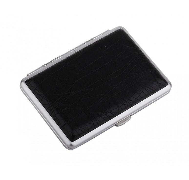 Портсигар S.Quire, сталь+искусственная кожа с металлическими клипами, черный цвет, 74*95*18 мм