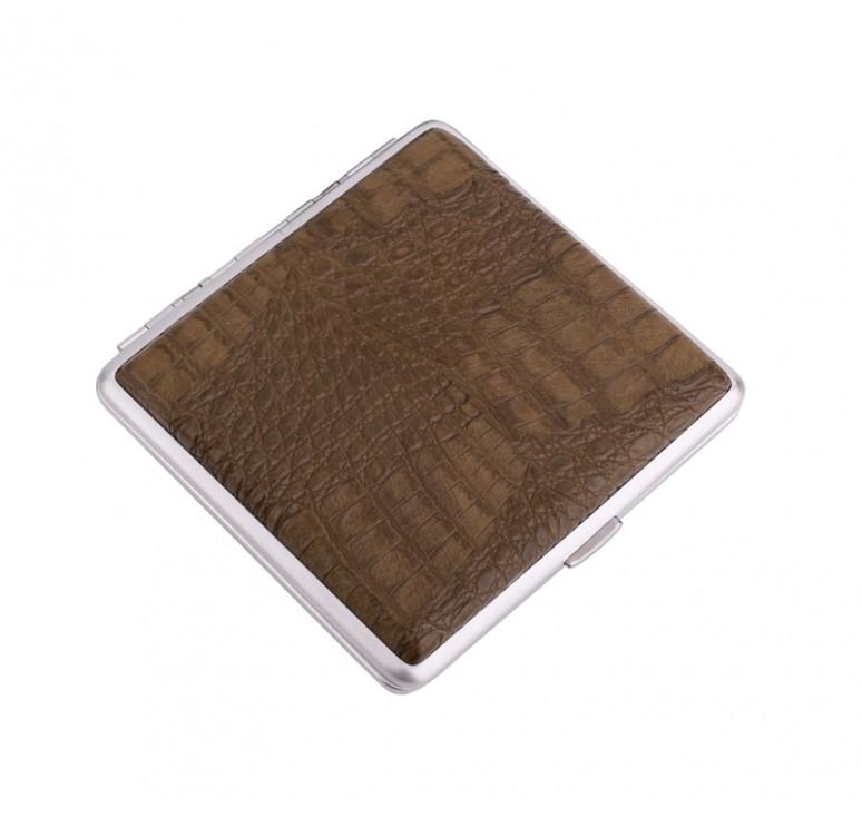 Портсигар S.Quire, сталь+искусственная кожа с металлическими клипами, коричневый цвет, 96*93*19 мм