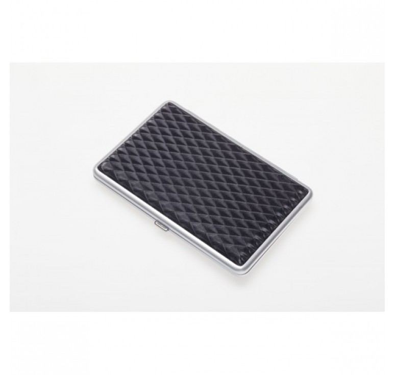 Портсигар S.Quire, сталь+искусственная кожа, черный цвет с рисунком, 74*95*18 мм