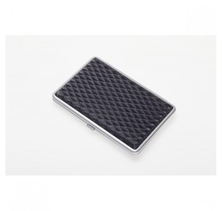 Портсигар S.Quire, сталь+искусственная кожа, черный цвет с рисунком, 96*93*19 мм