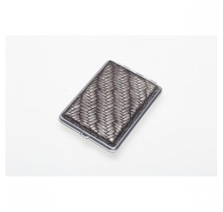 Портсигар S.Quire, сталь+искусственная кожа, бронзово-серый цвет, 96*93*19 мм