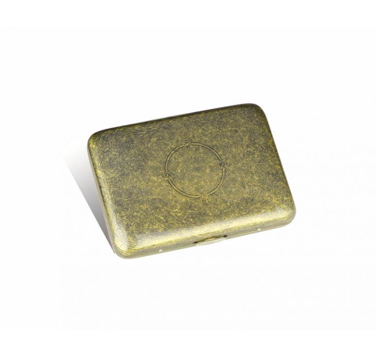 Портсигар S.Quire, сталь, золотистый цвет с рисунком, 94*71*20 мм
