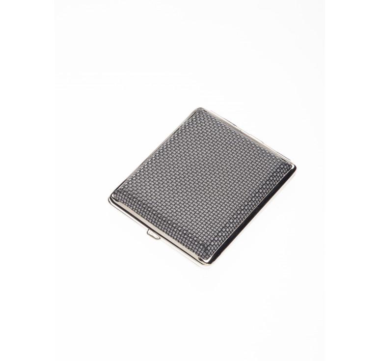 Портсигар S.Quire, сталь+искусственная кожа, черный цвет с рисунком, 90*80*20 мм