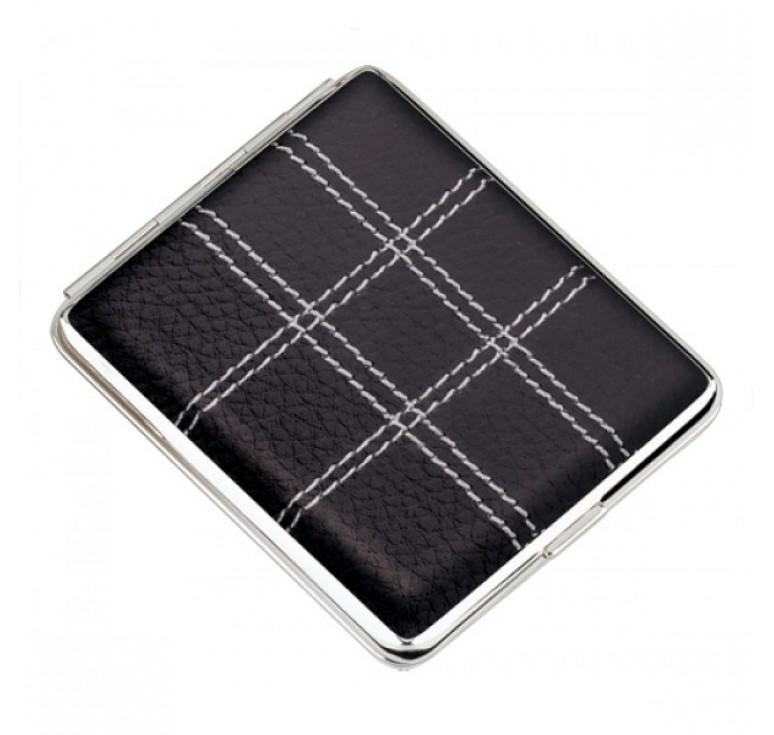 Портсигар S.Quire, сталь+натуральная кожа, черный цвет с прострочкой, 74*95*18 мм