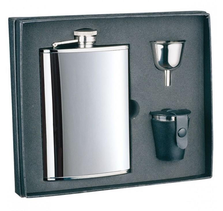 Набор S.Quire: фляга 1508YA + стаканчики 30 мл + воронка d=40 мм, сталь, картонная коробка