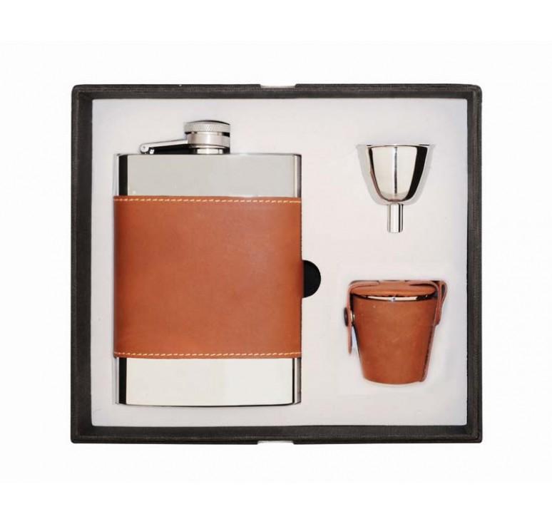 Набор S.Quire: фляга 1509YB + стаканчики3 шт. 30 мл + воронка d=40 мм, сталь, искусственная кожа