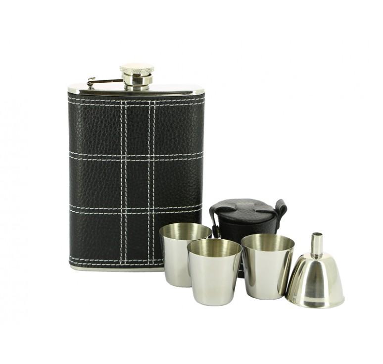 Набор S.Quire: фляга TB08-3175 + стаканчики 30 мл + воронка d=40 мм, сталь,натур.кожа,картон.кор.