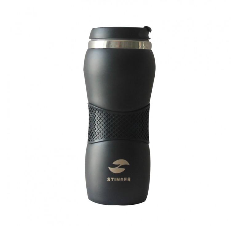Термокружка Stinger, 0,4 л, сталь/пластик/силикон, чёрный матовый, 6,6х20,4 см