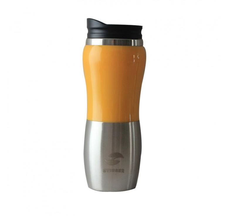 Термокружка Stinger, 0,4 л, сталь/пластик, серебристый/жёлтый, глянцевый, 6,4х21,5 см