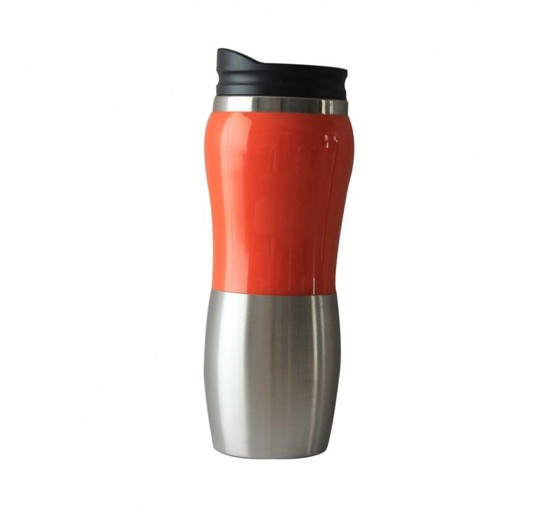 Термокружка Stinger, 0,4 л, сталь/пластик, серебристый/оранжевый, глянцевый, 6,4х21,5 см