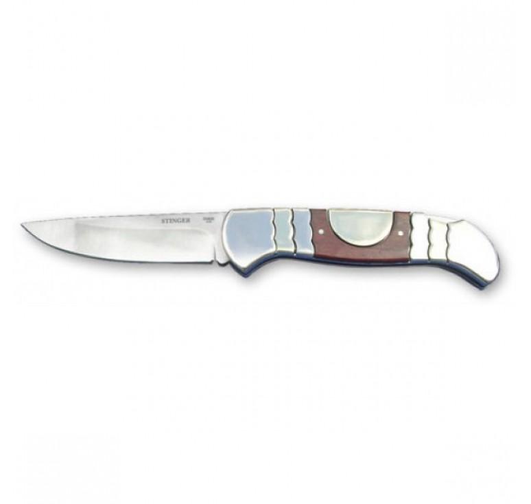 Нож складной Stinger, 95 мм (серебристый), рукоять: сталь/дерево (серебр.-корич.), картонная коробка