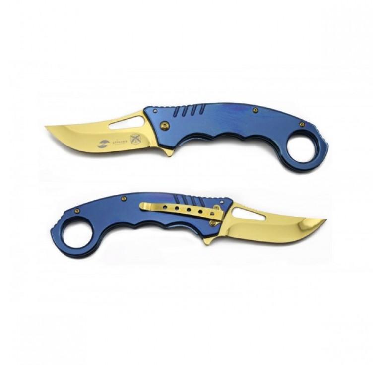 Нож складной Stinger, 133 мм, рукоять: нержавеющая сталь (синий), с клипом, подарочная коробка