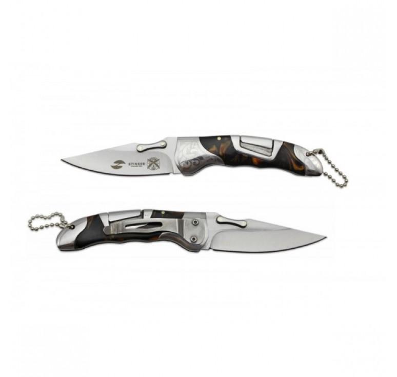 Нож складной Stinger,165 мм, рукоять: нержавеющая сталь/дерево, (коричневый) с клипом, подар.коробка