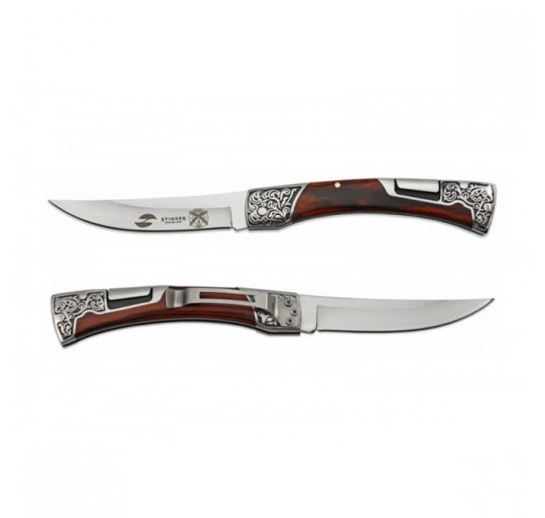 Нож складной Stinger, 114 мм, рукоять:нержавеющая сталь/дерево, (коричневый) с клипом, подар.коробка