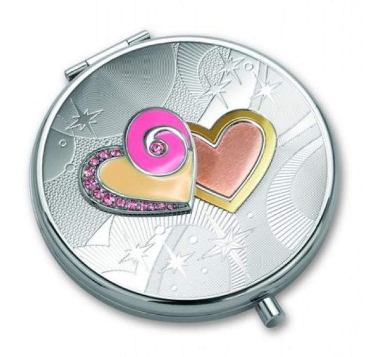 """Зеркало косметическое Jardin D'Ete со стразами, """"Два сердца"""", сталь + стекло, Ø64 мм"""