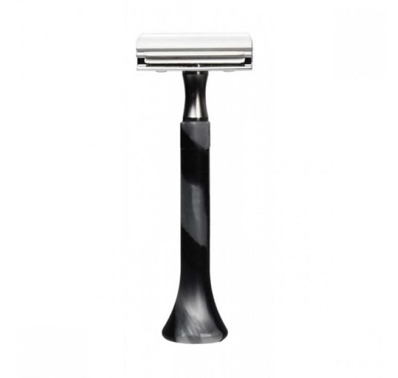 Станок для бритья Erbe с двумя лезвиями, цвет хром, ручка- силикон, цвет: серебряный/черный