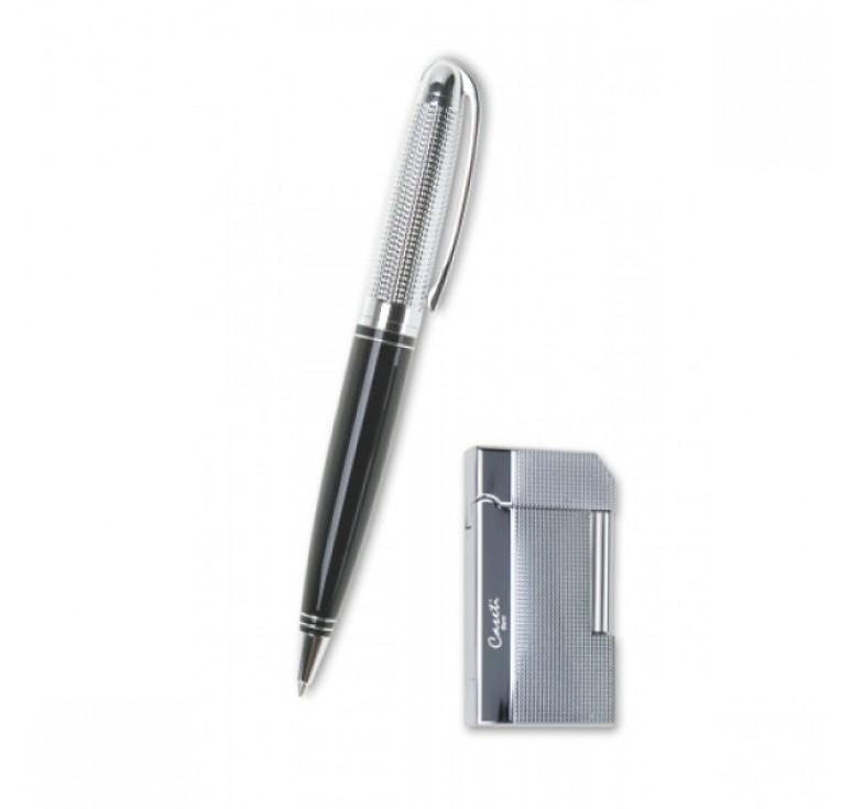 """Набор """"Caseti"""" ручка+зажигалка. Ручка шариковая, латунь+лак. Зажигалка газовая кремневая,"""