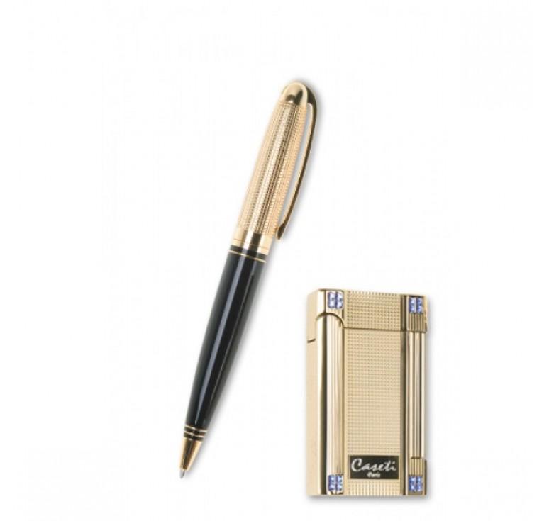 """Набор """"Caseti"""" ручка+зажигалка. Ручка шариковая, латунь с позолотой+лак."""