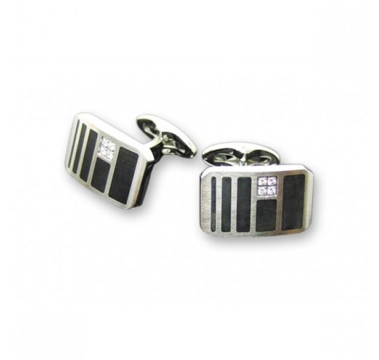 """Запонки """"Caseti"""", сталь с никеле-хромовым покрытием, лакиров.вставки + камень циркон, 2,0 x 0,1 x 2,"""