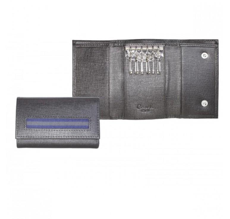 """Ключница """"Caseti"""", кожа тисненая черная, 10,2 х 6,5 см"""