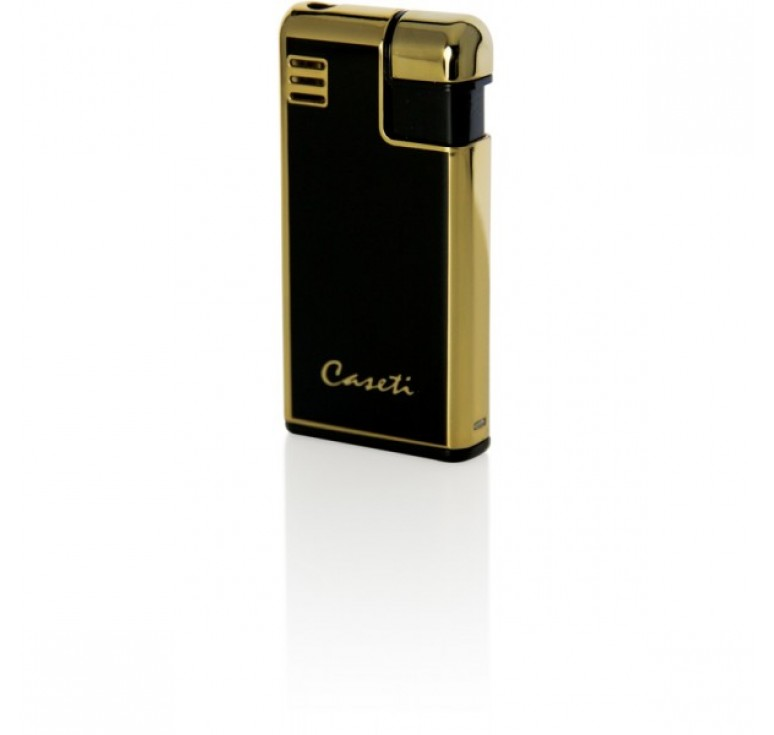 """Зажигалка """"Caseti"""" газовая пьезо, сплав цинка, золото/черный лак, 2,8х1х5,8 см"""