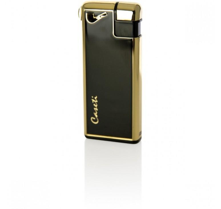 """Зажигалка """"Caseti"""" для трубок газовая пьезо, золото/черный лак, 2,8х1х6,7 см"""