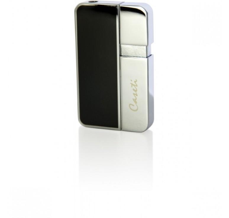 """Зажигалка """"Caseti"""" газовая пьезо, сплав цинка, покрытие хромированное + черный лак, 3,8х0,8х6,3 см"""