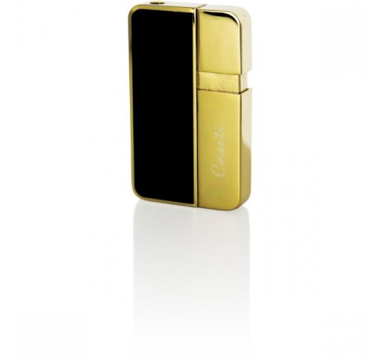 """Зажигалка """"Caseti"""" газовая пьезо, сплав цинка, покрытие позолота + черный лак, 3,8х0,8х6,3 см"""