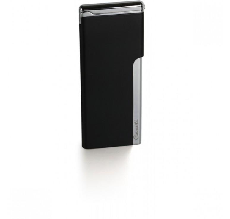 """Зажигалка """"Caseti"""" газовая пьезо, хромированное покрытие + черный лак, 3,3х0,5х8 см"""