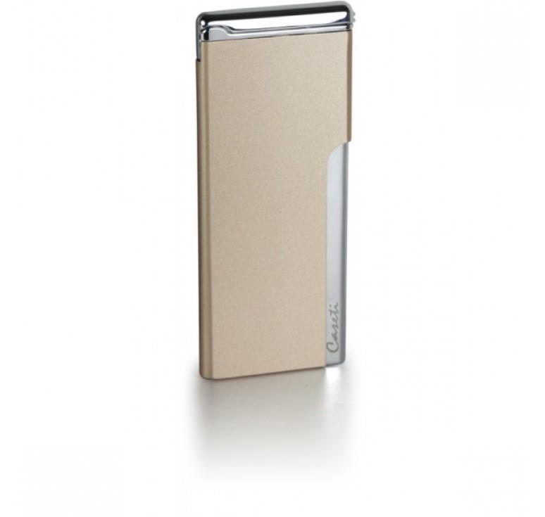 """Зажигалка """"Caseti"""" газовая пьезо, хромированное покрытие + золотистый лак, 3,3х0,5х8 см"""