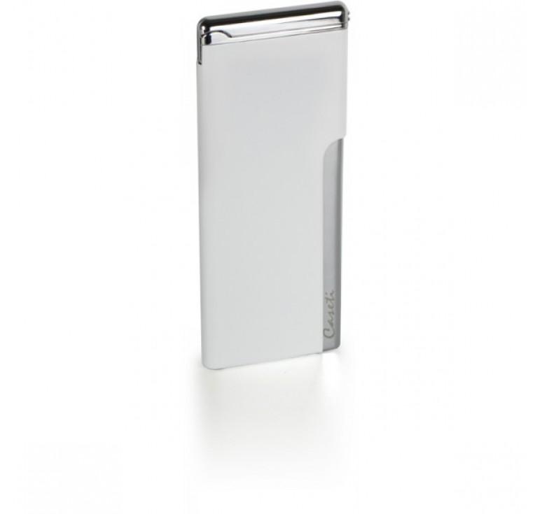 """Зажигалка """"Caseti"""" газовая пьезо, хромированное покрытие + белый лак, 3,3х0,5х8 см"""