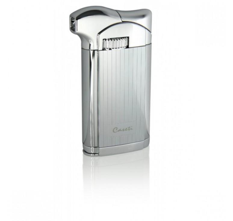 """Зажигалка """"Caseti"""" для трубок газовая пьезо, хромированная с вертикальными полосами 3,5х1,4х7,2см"""