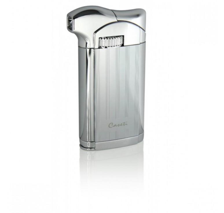 """Зажигалка """"Caseti"""" для трубок газовая пьезо, хромированная с частыми полосами 3,5х1,4х7,2см"""
